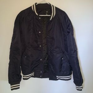 Navy blue bomber jacket